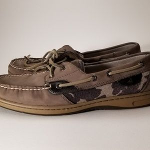 Sperry Top Slider Graphite Cheetah/ Camo Boat Deck